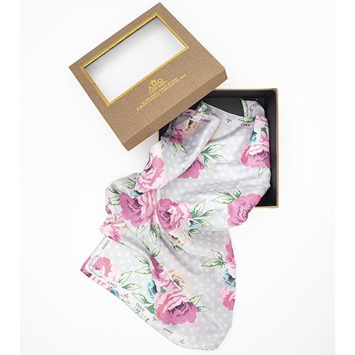 Шелковый платок Amo Accessori Peonies с принтом-пионы, фото