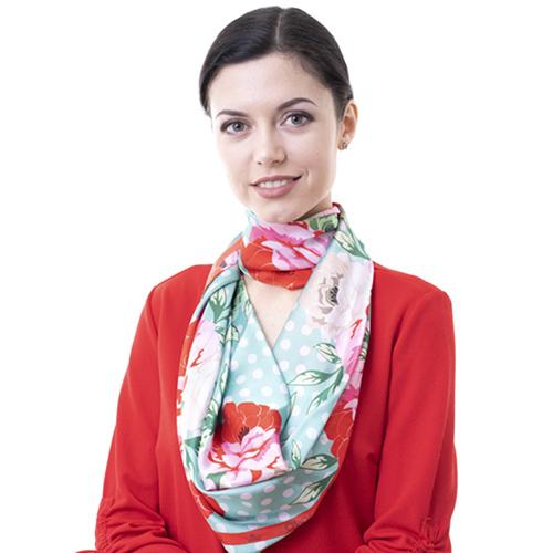 Платок из шелка Amo Accessori Peonies с принтом, фото