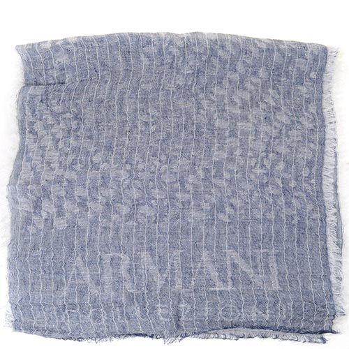 Широкий шарф Armani Collezioni серо-голубой льняной приятный, фото