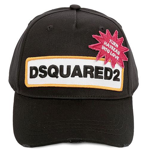 Бейсболка Dsquared2 черного цвета с нашивкой, фото