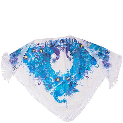 Батистовая косынка D.OLYA by Olga Dvoryanskaya белого цвета с синим принтом, фото