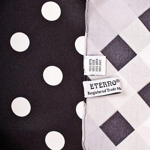 Шелковый платок Eterno черный в белый горох, фото