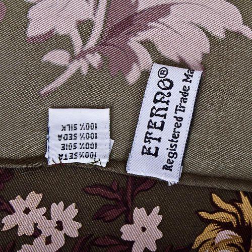 Шелковый платок Eterno бронзово-коричневый с цветочным принтом, фото