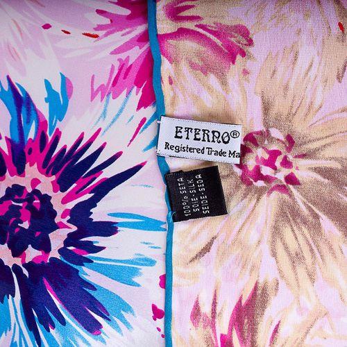 Шелковый платок Eterno с васильково-голубыми и ярко-розовыми цветами, фото
