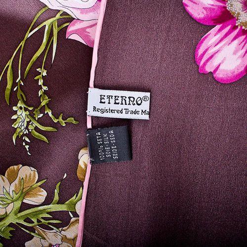 Шелковый платок Eterno цвета баклажан с цветочным принтом, фото