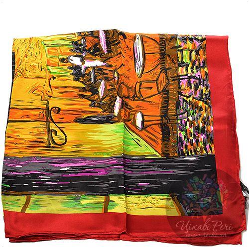 Шелковый платок Eterno ярких оттенков с красно-бордовым кантом, фото