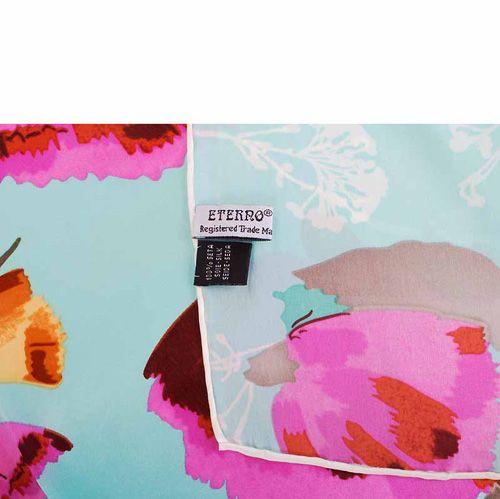 Шелковая косынка Eterno голубая с маками, фото