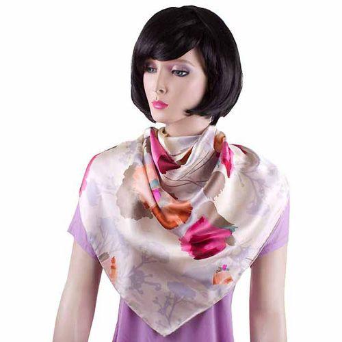 Шелковая косынка Eterno светлого серовато-бежевого цвета с маками, фото