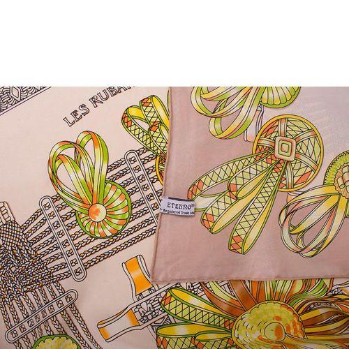Шелковый платок Eterno бежевый с оранжево-салатовым рисунком, фото