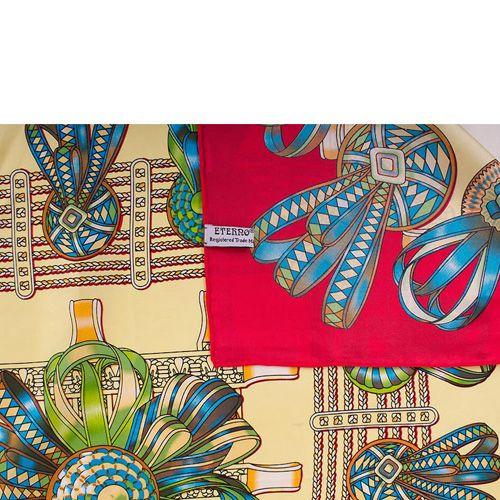 Шелковый платок Eterno бежево-красный с зелено-голубым рисунком, фото