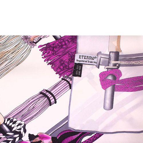 Шелковый платок Eterno в розово-фиолетовых тонах с изображением кистей, фото