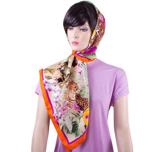 Шелковый платок Eterno Джунгли с фиолетовыми орхидеями, фото