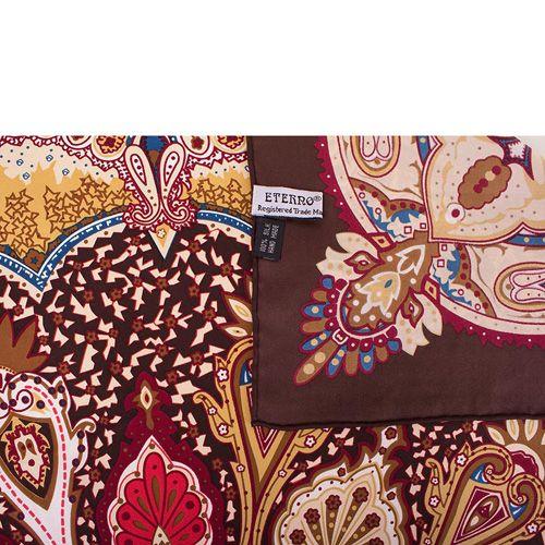 Шелковый платок Eterno коричневый с индийским орнаментом, фото