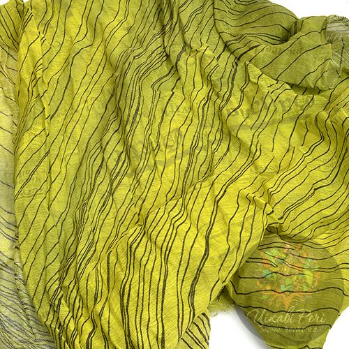 Шарф Galliano тонкий большой яркий лимонно-оливковый, фото