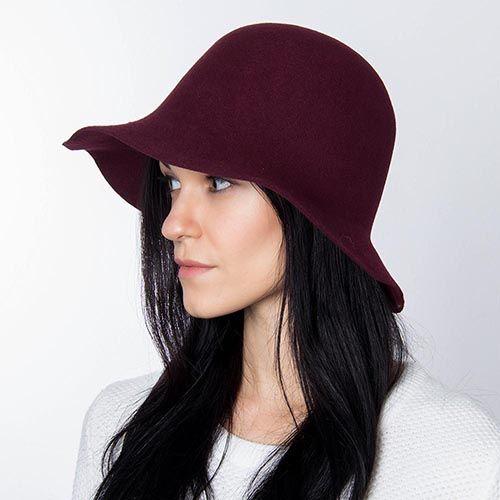 Шляпа флоппи Hat You бордового цвета с короткими полями, фото
