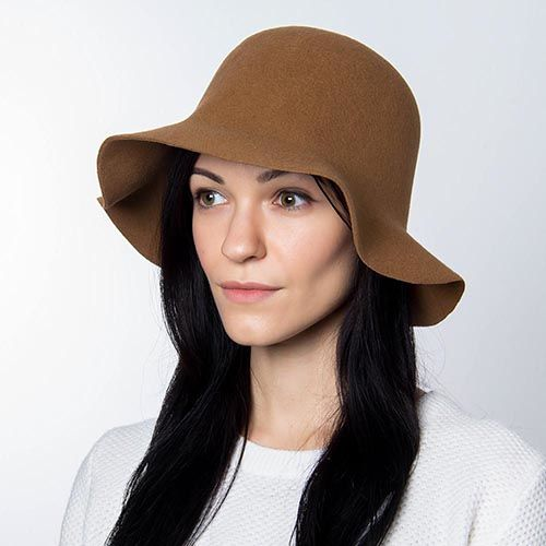 Шляпа флоппи Hat You светло-коричневого цвета с короткими полями, фото