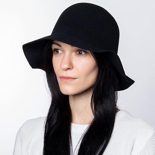 Шляпа флоппи Hat You черного цвета с короткими полями, фото