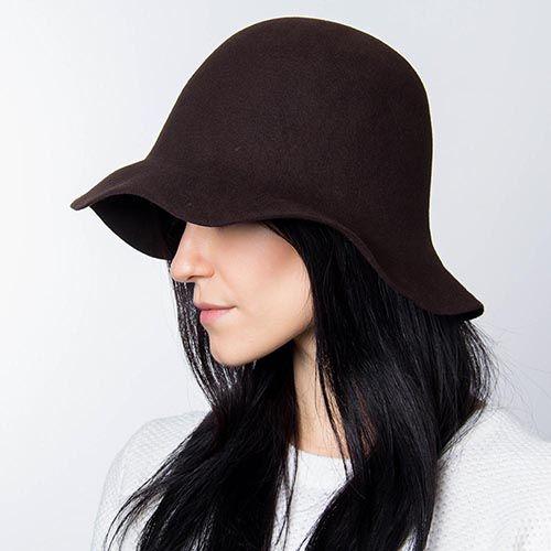 Шляпа флоппи Hat You темно-коричневого цвета с короткими полями, фото