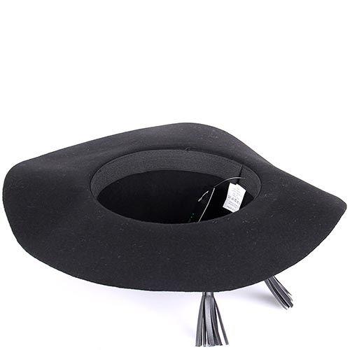 Шляпа флоппи Hat You черного цвета с кожаными кисточками, фото