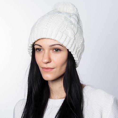 Шапка Hat You молочного цвета с большим балабоном, фото