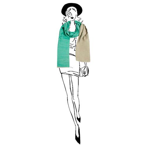 Кашемировый шарф Chadrin двухсторонний зеленый с бежевым, фото