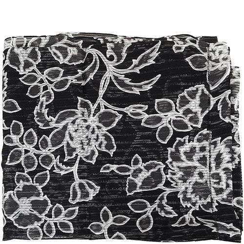 Шарф-палантин легкий шелковый серо-черный с белыми цветами, фото