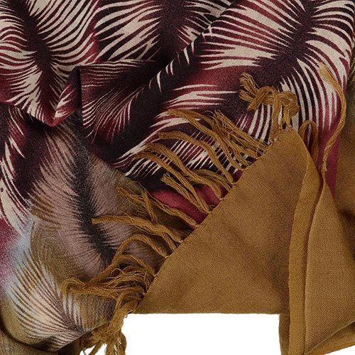 Шерстяной шарф FFC двусторонний горчично-бордовый со стилизованным изображением перьев, фото