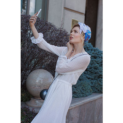 Косынка D.OLYA by Olga Dvoryanskaya с  с цветочным принтом и французским кружевом, фото