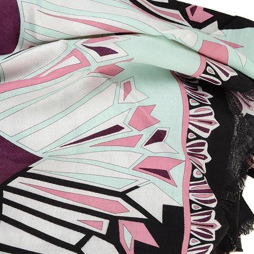 Тругольная косынка Emilio Pucci теплая черно-бордовая в сочетании с мятным оттенком, фото