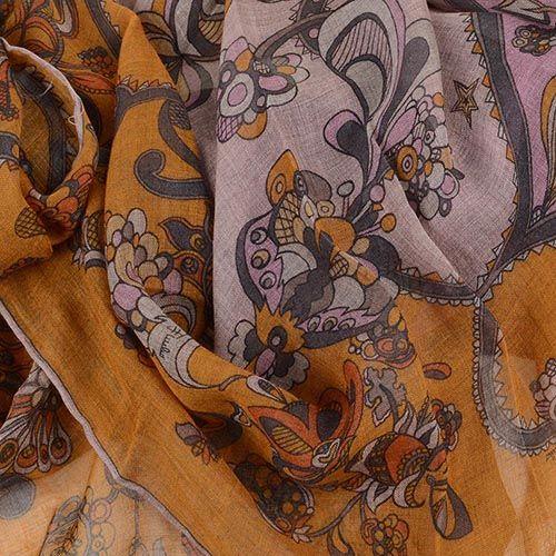Шаль Emilio Pucci теплая приятная оранжево-коричневая, фото