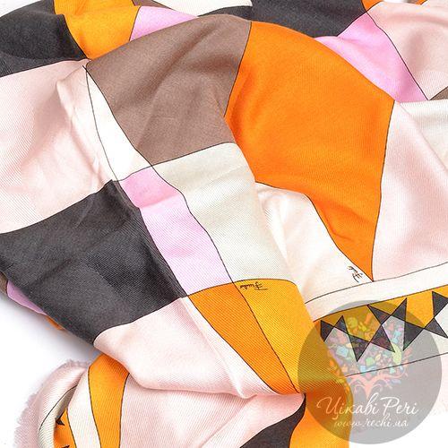 Косынка Emilio Pucci большая теплая с розовыми, оранжевыми, бежевыми и серыми ромбами, фото