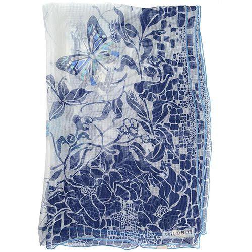 Шаль Emilio Pucci шелковая белая с синим цветочным принтом и бабочками, фото