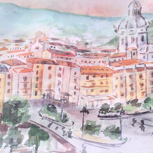 Шелковый платок Fattorseta с принтом города, фото