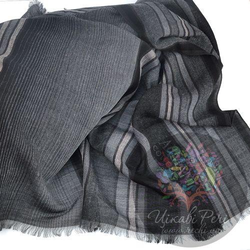 Палантин Armani Collezioni полосатый в оттенках серого, фото
