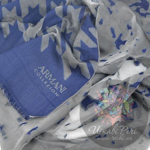 Шарф Armani Collezioni серо-синий с прозрачными элементами, фото