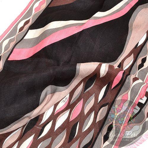 Шарф Emilio Pucci с принтом в шоколадно-серо-розовых тонах , фото
