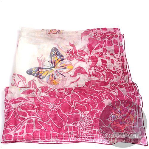 Палантин Emilio Pucci тонкий полупрозрачный с бабочками и малиновыми цветами, фото