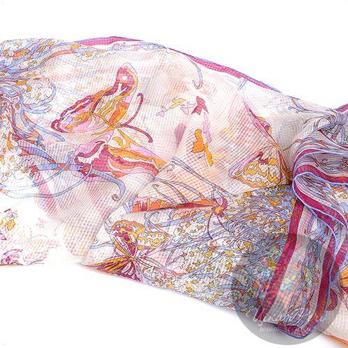 Палантин Emilio Pucci тонкий нежный оранжево-розовый с бабочками, фото