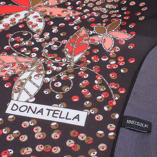 Шелковый шарф Fashion jewellery черного цвета с флористическим принтом, фото