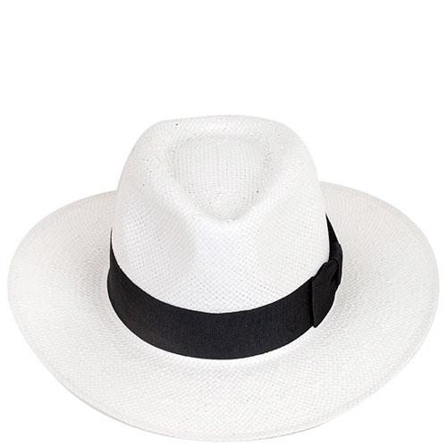 Шляпа мужская Shapelie Федора белого цвета с черной лентой, фото