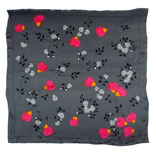 Платок Ungaro «Cosenza» шелковый серый с яркими розовыми лепестками, фото