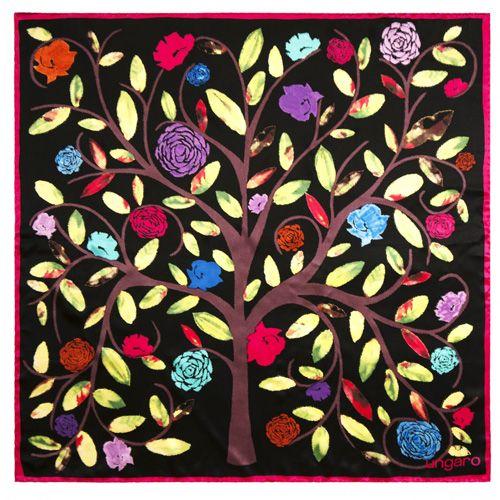 Платок Ungaro «Albero della Vita» шелковый с живописным изображением цветущего дерева, фото