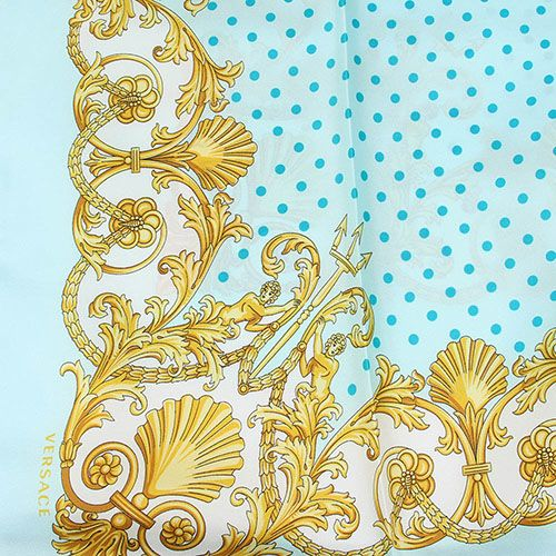 Платок Versace шелковый бирюзовый в мелкий голубой горох, фото