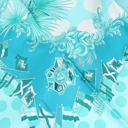 Нежно-голубой платок Versace из натурального шелка, фото