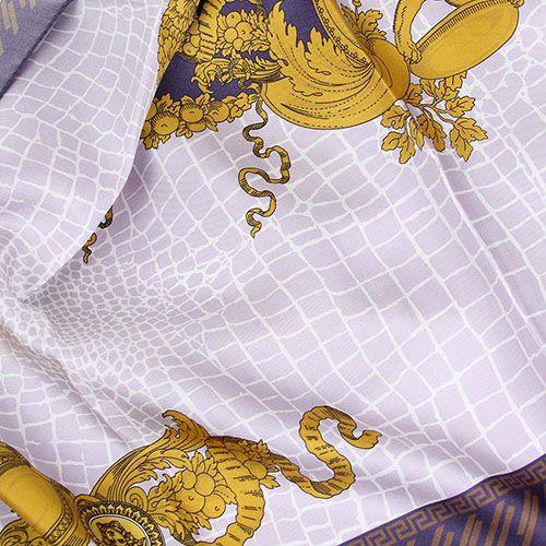 Шелковый платок Versace в дымчато-фиолетовых тонах, фото