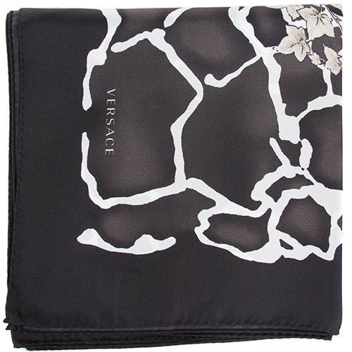 Женский платок Versace из натурального шелка черно-белый, фото