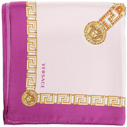 Платок Versace шелковый розового цвета с золотистыми узорами, фото