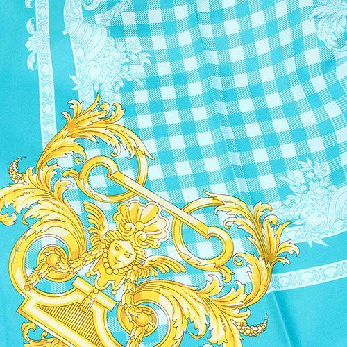 Платок Versace из натурального шелка ярко-бирюзового цвета, фото