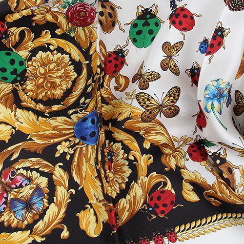 Черный платок Versace в разноцветные бабочки, фото