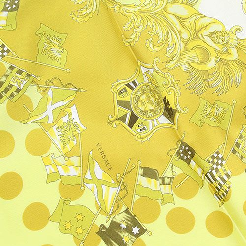 Платок Versace из натурального шелка цвета лайма, фото